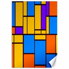 Retro Colors Rectangles And Squares 			canvas 12  X 18  by LalyLauraFLM