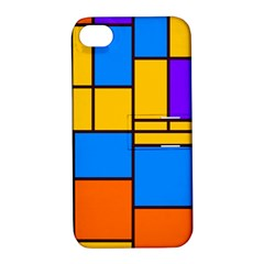 Retro Colors Rectangles And Squares 			apple Iphone 4/4s Hardshell Case With Stand by LalyLauraFLM