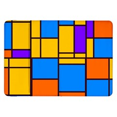 Retro Colors Rectangles And Squares 			samsung Galaxy Tab 8 9  P7300 Flip Case by LalyLauraFLM
