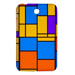 Retro Colors Rectangles And Squares 			samsung Galaxy Tab 3 (7 ) P3200 Hardshell Case by LalyLauraFLM