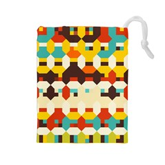Shapes In Retro Colors Drawstring Pouch by LalyLauraFLM