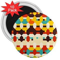 Shapes In Retro Colors 			3  Magnet (10 Pack) by LalyLauraFLM