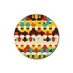 Shapes In Retro Colors 			rubber Coaster (round) by LalyLauraFLM
