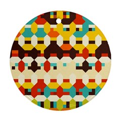 Shapes In Retro Colors 			ornament (round) by LalyLauraFLM
