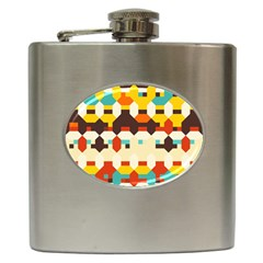 Shapes In Retro Colors 			hip Flask (6 Oz) by LalyLauraFLM