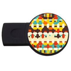Shapes In Retro Colors 			usb Flash Drive Round (4 Gb) by LalyLauraFLM
