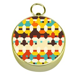 Shapes In Retro Colors 			gold Compass by LalyLauraFLM