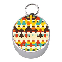 Shapes In Retro Colors 			silver Compass (mini) by LalyLauraFLM