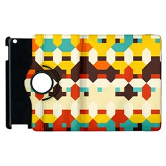 Shapes In Retro Colors 			apple Ipad 3/4 Flip 360 Case by LalyLauraFLM