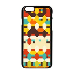Shapes In Retro Colors 			apple Iphone 6/6s Black Enamel Case by LalyLauraFLM