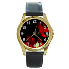 Roses 1 Round Gold Metal Watch by timelessartoncanvas