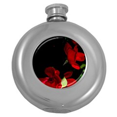 Roses 1 Round Hip Flask (5 Oz) by timelessartoncanvas