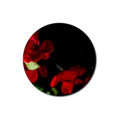 Roses 2 Rubber Round Coaster (4 Pack)  by timelessartoncanvas