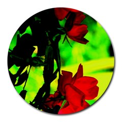 Red Roses And Bright Green 1 Round Mousepads by timelessartoncanvas