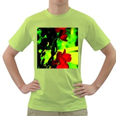 Red Roses And Bright Green 1 Green T Shirt by timelessartoncanvas