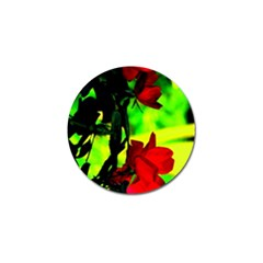 Red Roses And Bright Green 1 Golf Ball Marker by timelessartoncanvas