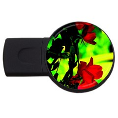 Red Roses And Bright Green 1 Usb Flash Drive Round (2 Gb)  by timelessartoncanvas