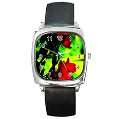 Red Roses And Bright Green 1 Square Metal Watch by timelessartoncanvas