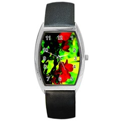 Red Roses And Bright Green 1 Barrel Style Metal Watch by timelessartoncanvas