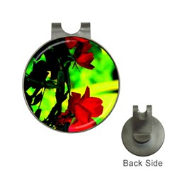 Red Roses And Bright Green 1 Hat Clips With Golf Markers by timelessartoncanvas