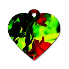 Red Roses And Bright Green 1 Dog Tag Heart (two Sides) by timelessartoncanvas