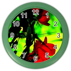 Red Roses And Bright Green 1 Color Wall Clocks by timelessartoncanvas