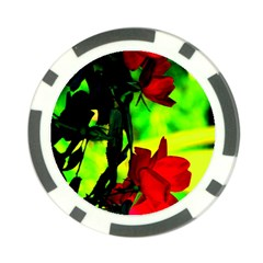 Red Roses And Bright Green 1 Poker Chip Card Guards (10 Pack)  by timelessartoncanvas