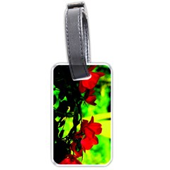 Red Roses And Bright Green 1 Luggage Tags (one Side)  by timelessartoncanvas