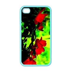 Red Roses And Bright Green 1 Apple Iphone 4 Case (color) by timelessartoncanvas