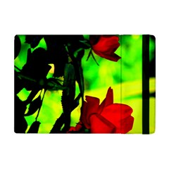 Red Roses And Bright Green 1 Apple Ipad Mini Flip Case by timelessartoncanvas