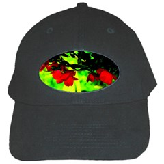 Red Roses And Bright Green 2 Black Cap by timelessartoncanvas