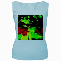 Red Roses And Bright Green 2 Women s Baby Blue Tank Top by timelessartoncanvas