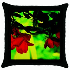 Red Roses And Bright Green 2 Throw Pillow Case (black) by timelessartoncanvas