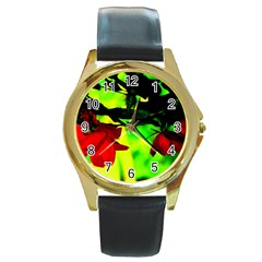 Red Roses And Bright Green 2 Round Gold Metal Watch by timelessartoncanvas