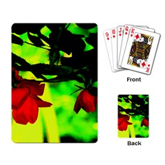 Red Roses And Bright Green 2 Playing Card by timelessartoncanvas