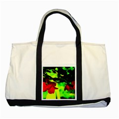 Red Roses And Bright Green 2 Two Tone Tote Bag by timelessartoncanvas