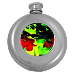 Red Roses And Bright Green 2 Round Hip Flask (5 Oz) by timelessartoncanvas