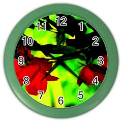 Red Roses And Bright Green 2 Color Wall Clocks by timelessartoncanvas