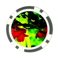Red Roses And Bright Green 2 Poker Chip Card Guards by timelessartoncanvas