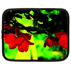 Red Roses And Bright Green 2 Netbook Case (large)