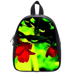 Red Roses And Bright Green 2 School Bags (small)  by timelessartoncanvas