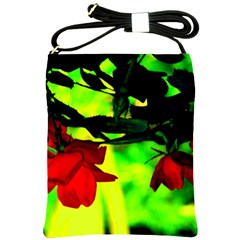 Red Roses And Bright Green 2 Shoulder Sling Bags by timelessartoncanvas