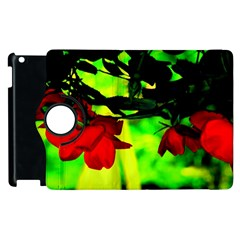 Red Roses And Bright Green 2 Apple Ipad 3/4 Flip 360 Case by timelessartoncanvas
