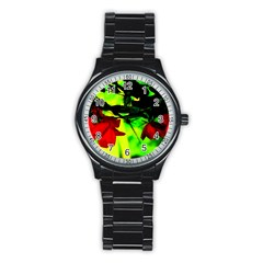 Red Roses And Bright Green 2 Stainless Steel Round Watch by timelessartoncanvas