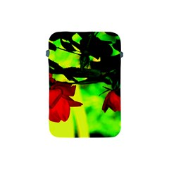 Red Roses And Bright Green 2 Apple Ipad Mini Protective Soft Cases by timelessartoncanvas