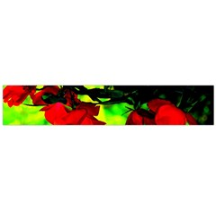 Red Roses And Bright Green 2 Flano Scarf (large) by timelessartoncanvas