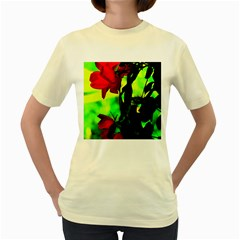 Red Roses And Bright Green 3 Women s Yellow T-shirt by timelessartoncanvas