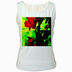 Red Roses And Bright Green 3 Women s White Tank Top by timelessartoncanvas
