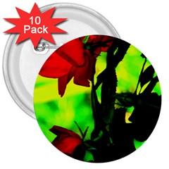 Red Roses And Bright Green 3 3  Buttons (10 Pack)  by timelessartoncanvas