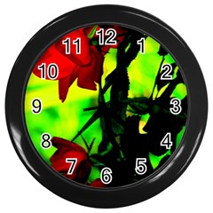 Red Roses And Bright Green 3 Wall Clocks (black) by timelessartoncanvas